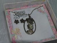Estate Precious Moments Demi Enamel Praying Girl & Dainty Silvertone Flower Post