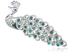Fashion AB Crystal Rhinestone Iridescent Blue Feather Peacock Animal Brooch Pin
