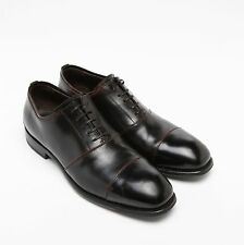 FRANCESCHETTI *Made in Italy* Fine Horse Leather Cap-Toe Oxford Shoes/Black 43IT