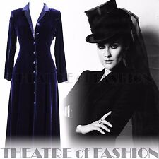 VINTAGE LAURA ASHLEY COAT VELVET SILK DRESS UK 8 RIDING VICTORIAN 30s EDWARDIAN