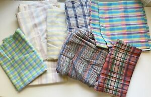 Vintage Plaid Stripe Fabric Scraps Lot, Pastels 60s 70s Groovy Approx 10 Yards