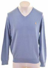 POLO RALPH LAUREN Mens V-Neck Jumper Sweater XL Blue Cotton  BF08