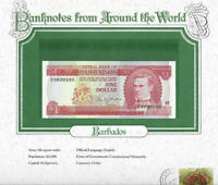World Banknotes Barbados 1973 1 Dollar UNC P 29a Prefix F Birthday 9920105