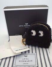 ANYA HINDMARCH Pac Man Black Shearling Fur GHOST Key Fob Coin Purse NIB $495