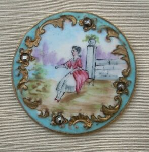 GORGEOUS LARGE 19TH C. FRENCH EMAUX PEINTS ENAMEL BUTTON WITH STEEL STUDS
