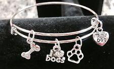 I Love dogs/I ❤ my Dog/Paw/ bone/4 Silver charms Expandable Bangle Bracelet