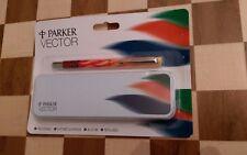 Vintage NEW Sealed Parker Vector Roller Ball Blue Ink Refillable Pen & Tin Case