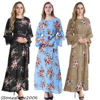 Women Floral Print Kaftan Muslim Abaya Robe Islamic Jilbab Maxi Dress Plus Size