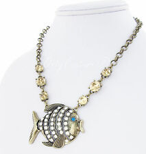 BETSEY JOHNSON Yellow and White Crystal Cut-Out Fish Pendant Brass-Tone Necklace