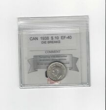 **1938** Coin Mart Graded Canadian,  10  Cent, **EF-40 Die Breaks**