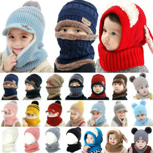 Kids Baby Girls Boys Warm Knitted Pom Poms Hat Beanie Cap Wrap Thermal Face Mask