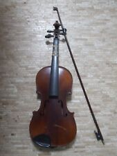 More details for antique vintage approx:1880-1920 violin with bow enlaided with mother of pearl