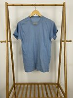 VTG 80s Blank Blue Short Sleeve Single Stitch Thin T-Shirt Size L USA
