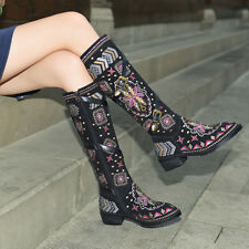 Womens Genuine Leather Embroidery Side Zipper Knee High Boots Warm Knight Shoes