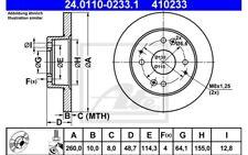 ATE Juego de 2 discos freno 260mm para HONDA CIVIC ACCORD ROVER 600