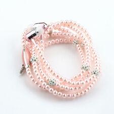 Fashionable Jewelry pearl Necklace Earphones Mic Beads 3.5mm In-ear Headphone *