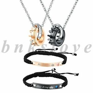 His Queen Her King Couple Jewelry Sets Hand Braided Bracelet Crown Ring Necklace