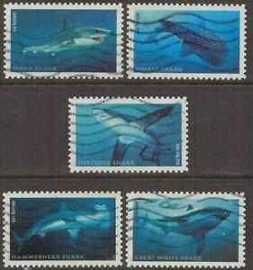 Scott #5223-27 Used Set of 5, Sharks (Off Paper)