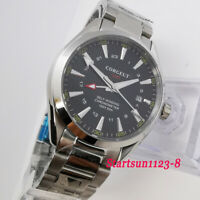 41mm Corgeut Black Dial Sapphire GMT Stainless Steel Strap Automatic Men's Watch