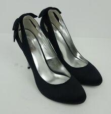 NEXT Black Satin Diamante Womens Shoes Size 8 UK Stiletto Heel Bow Silver Party
