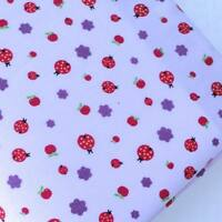 ALLOVER LADYBIRDS ON LILAC - COTTON POLY  FABRIC PER METRE