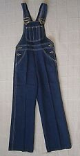 Vintage Denim Dungarees - Age 7 - Navy - White stitching - Metal Buckles - New