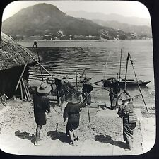 Antique Magic Lantern Glass Slide Photo Japan Fishermen Fishing Boats Dock