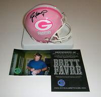 PACKERS Brett Favre signed PINK mini helmet w/ #4 COA HOLO AUTO Autographed
