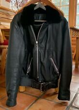 Authentic CHROME HEARTS  Biker Motorcycle Black Leather Jacket XL Shearling