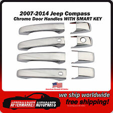 2007-2014 Jeep Compass Chrome Trim Door Handle Covers With Smart Key Inserts