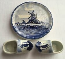 A Pair of Miniature Hand Painted Delft (Holland) Dutch Blue Shoes & A Wall Plate