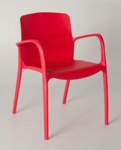 Modern Red Plastic Stackable Cafe Coffee Chair 2x Pcs