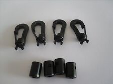 3mm Shock Cord Hook Karabiner Black Plastic x 4