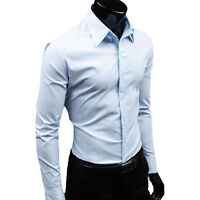Men Stylish Casual Formal Slim Fit Shirt Long Sleeve Luxury Business Dress Shirt