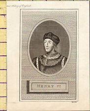 1793 ANTIQUE GEORGIAN PRINT ~ KING HENRY VI ~ SIXTH