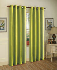 "Faux Silk Window Treatments Curtains Drape Grommets 84"" 108"" 95"" Lime Green"