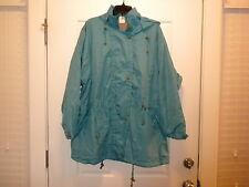 10 WOMENS SIZE XL HOODED LINED COATS DRAWSTRING WAIST WOMANWITHIN NEW TEAL BLUE