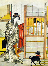 The Bathroom and Little Dog 15x22 Japanese Terrier Print Asian Art Japan
