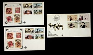 SOUTH WEST AFRICA 1977 HIST. HOUSES+ NATURE CONSERVATION & TOURISM 12v ON 3 FDCs