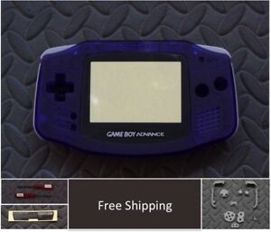 GBA Nintendo Game Boy Advance Replacement Housing Shell Screen Clear Purple USA!