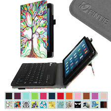 For Amazon Fire HD 8 6th / 5th Bluetooth Keyboard Case Stand Cover Stylus Loop