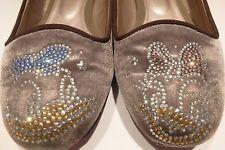 Disney Donald & Daisy Duck Velvet Rhinestone Shoes Slippers Size 7