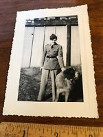 Vintage Original Photo Photograph WWII ? Soldier with Dog