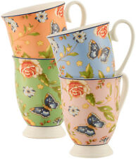 AYNSLEY COTTAGE GARDEN 4 COLOUR FOOTED MUGS - NEW/BOXED