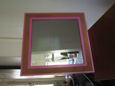 VINTAGE RETRO SMALL SQUARE MIRROR WITH CORK DETAIL ON FRAME