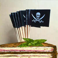100/500PCS Pirate Themed Flags Cocktail Stick Tooth Picks Food Party Decoration