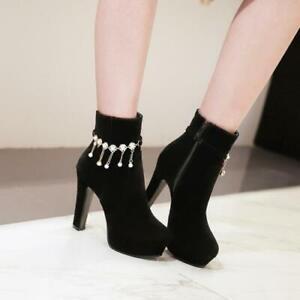 Trendy Women Tassels Suede Fabric Block High Heel Platform Party Ankle Boots D