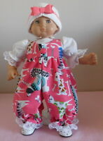 American Girl Doll Clothes Dark Pink Dogs Romper Fits Bitty Baby/Berenguer 15-17