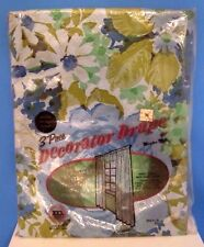 Vintage Maytex Mills Blue Floral 3 Piece Decorator Drape Plastic Curtains, NOS