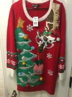 UNITED STATES SWEATERS UGLY CHRISTMAS SWEATER TUNIC GIRAFFE NWT EWTAIL $50.